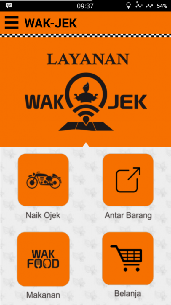 Main user interface Wakjek