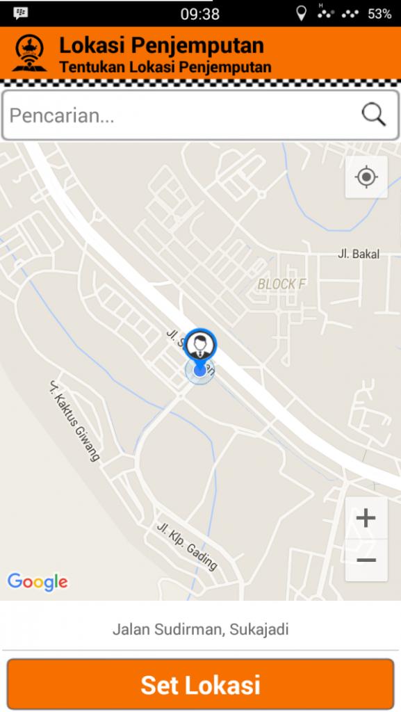 Wakjek mendeteksi lokasi user dengan GPS