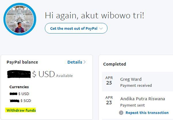 Login dan klik Withdraw Funds
