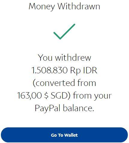 Sukses withdraw uang dari paypal