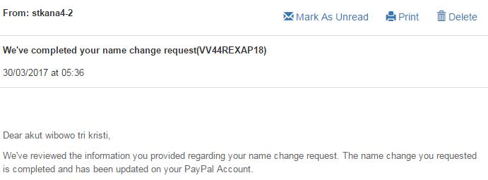 Sukses mengganti nama di Paypal account